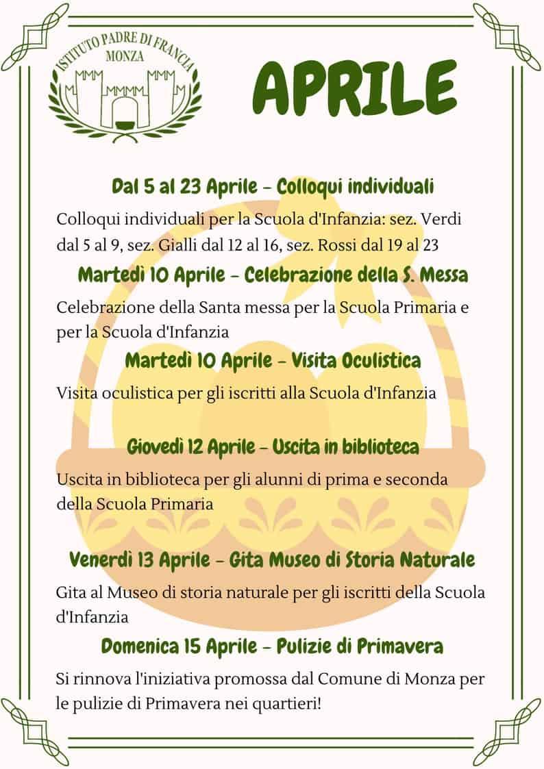 Calendario Pulizie.Calendario Scolastico Di Aprile Scuola Del Castello