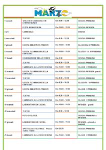 Calendario scolastico di Marzo
