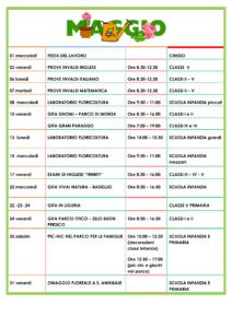 Calendario scolastico di Aprile