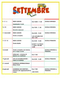 Calendario scolastico di Giugno