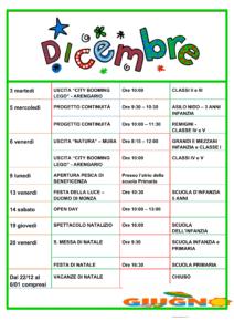 Calendario scolastico di Dicembre