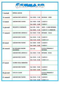 Calendario scolastico di Gennaio
