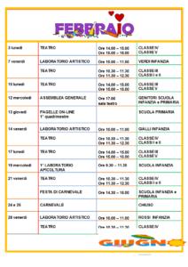 Calendario scolastico di Febbraio